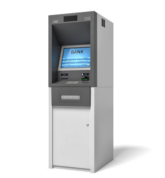 3d rendering of an isolated bank ATM machine with a lit blue screen on white background.