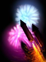 Fireworks Party With Rockets At Night