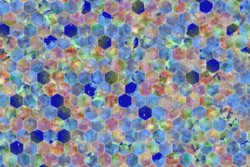 Abstract background or texture for design, colorful pattern hexagon strip.