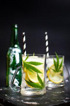 Marijuana lemonade with ice in a jar