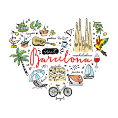 Barcelona cute illustrations in heart shape. Spain and Catalonia hand drawn travel objects