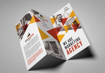 Trifold Brochure Layout with Triangular Elements
