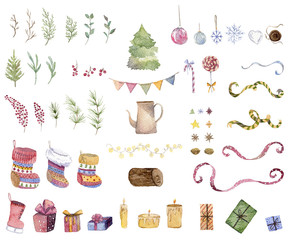 Christmas and New Year collection. Set of Christmas icons. Isolated elements on white background. Gift boxes, presents, candy, socks, balls, star, berries, leaves, branches. Watercolor illustration
