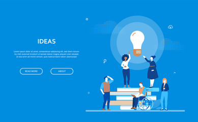 Bright ideas - flat design style colorful banner