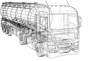 Large truck tanker with trailer. Isolated on grey background. Created illustration of 3d