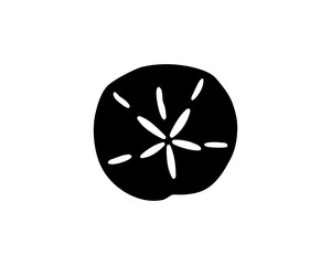 Simple black silhouette of a sand dollar, vector illustration