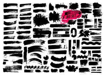 Giant set of brush strokes. Paint, ink, grunge, brushes, lines. Dirty artistic design elements, boxes, frames. Freehand drawing. Vector illustration. Isolated on white background.