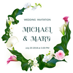 Flowers. Wedding invitation. Orchids. Floral background. Callas. Green leaves. Flower pattern. Pink. Roses. Bouquet. Frame.