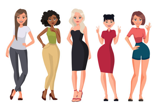 Vector illustration of different women.Girl with long hair in casual clothes, young black woman, woman with blond hair in black dress,chinese woman.Cartoon realistic people.Flat young woman.Front view
