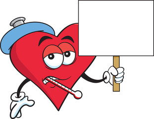 Cartoon illustration of a sick heart with a thermometer and holding a sign.