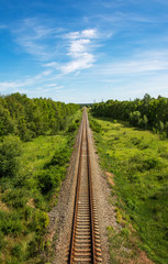 Autocollant pour porte Voies ferrées Aerial view of straight railroad tracks through farmland