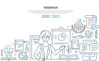 Webinar - modern colorful line design style illustration