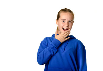 Young teen girl on white background suprised expression