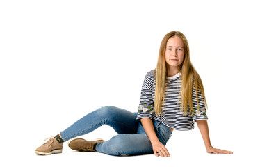 Young teen girl on white background