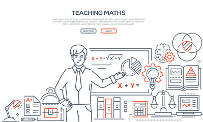 Teaching Maths - colorful line design style banner