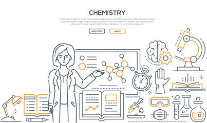 Chemistry lesson - colorful line design style banner