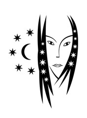 Stylized portrait of a woman on with a moon and stars. Symbolic pattern, vector graphics, logo.