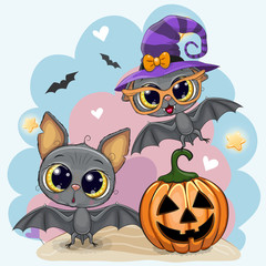 Greeting Halloween card with two bats