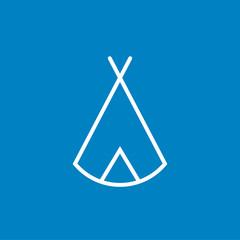 Zelt, Tipi - Piktogramm, Icon, Symbol - weiß, blau