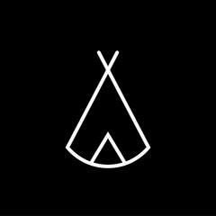 Zelt, Tipi - Piktogramm - schwarz weiß