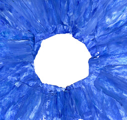 Oil hand painted blue frame isolated on white