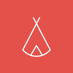 Zelt, Tipi - Piktogramm, Icon, Symbol - weiß, rot