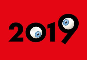 Carte de vœux 2019 originale et drôle avec deux yeux sortis de leurs orbites qui louchent