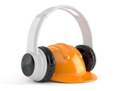 Hardhat with headphones