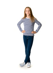 Young teen girl on white background standing
