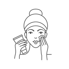Vector illustration of woman is applying facial cream, makeup foundation, cleanser