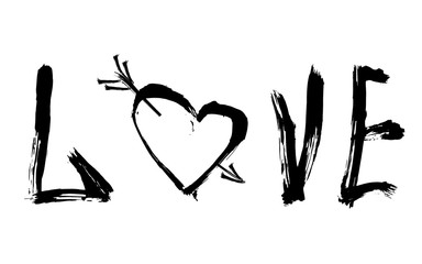 Abstract design of lettering and heart with an arrow
