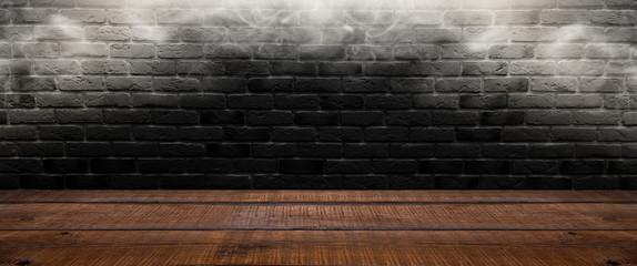 Background of an empty dark-black room. Empty brick walls, lights, smoke, glow, rays