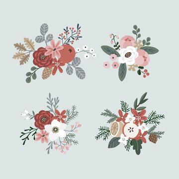 Set of hand drawn winter bouquets made of evergreen branches, leaves, berries, fruit and flowers. Christmas floral composition. Isolated vector objects.