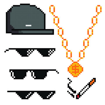 Boss or gangster pixelated sunglasses, gold chain, cap and cigarette. Thug attributes. Vector illustration.