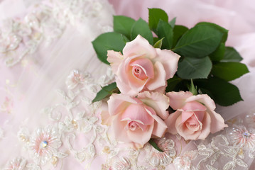 Pink roses on wedding lace (copy space)