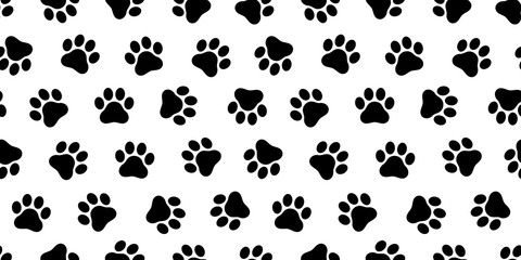 Dog Paw seamless vector pattern foot print kitten puppy tile background repeat wallpaper isolated