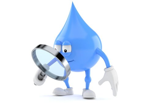 Water drop character looking through magnifying glass