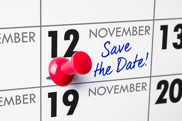 Wall calendar with a red pin - November 12