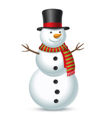 Snowman isolated on white background. Vector illustration