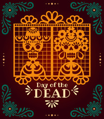 Day of the Dead papel picado. Vector illustration with traditional Mexican paper cuttings of skeletons and flowers. Isolated on dark background.