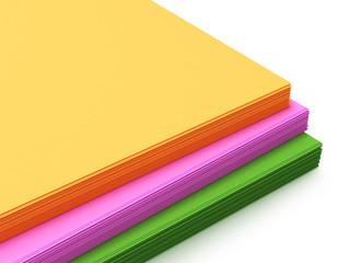 пачка цветной бумаги. 3D Иллюстрация