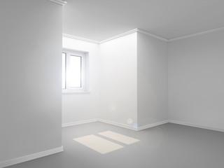 Белая комната с окном. 3D Иллюстрация.