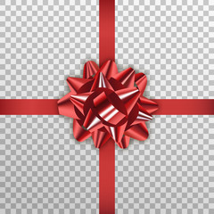 Red gift bow. Realistic red ribbon bow for Xmas and New Year
