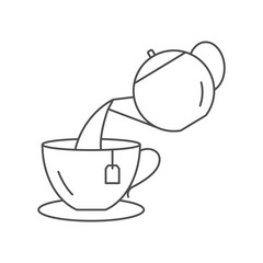 Vector illustration of a teapot filling a cup with tea