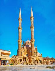 Tall minarets of Al Mustafa (Al Sahaba) Mosque, Sharm El Sheikh, Egypt