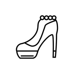 High heel shoe line icon. Elegant woman shoe vector illustration isolated on white. Footwear outline style design, designed for web and app. Eps 10.