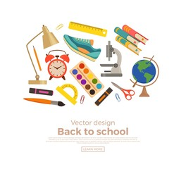Back to school colorful vector concept.