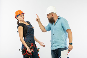 A male architect or engineer meeting with a building woman contractor on white background