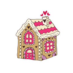 Gingerbread House Vector. Christmas cookie. Hand drawn illustration. Sticker print design