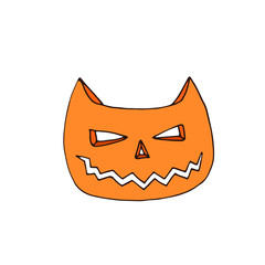 Cat Jack-o- Lantern Vector icon. Hand drawn illustration. Sticker print design.